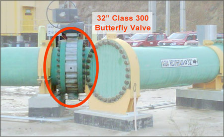 Butterfly Valve on pipeline