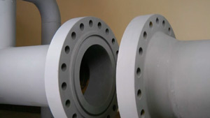 Two flanges that require closing or pulling together.