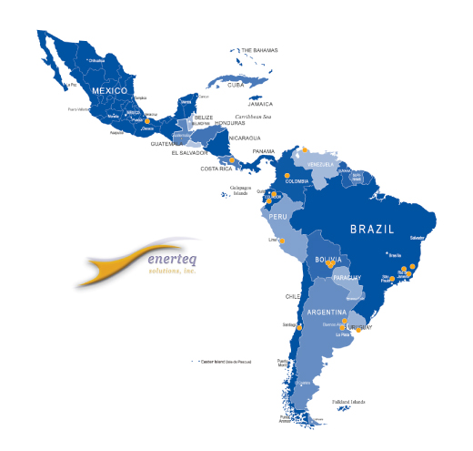 Map showing Enerteq's Partners in Central and South America